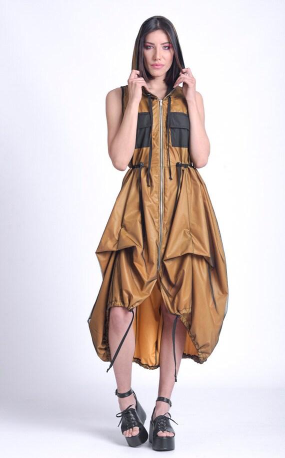 Hooded Sleeveless Dress/Asymmetric Loose Dress/Mesh Layer Dress/Dress with Pockets/Adjustable waist Dress/Extravagant Tunic Dress METD0153