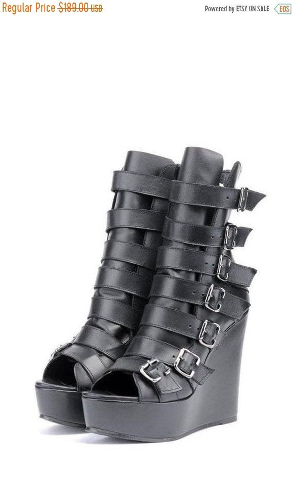 40% OFF Extravagant Black Shoes/Genuine Leather Open Toe Boots/High Heels with Decorative Belts/Black Leather Ankle Boots/Comfortable High H