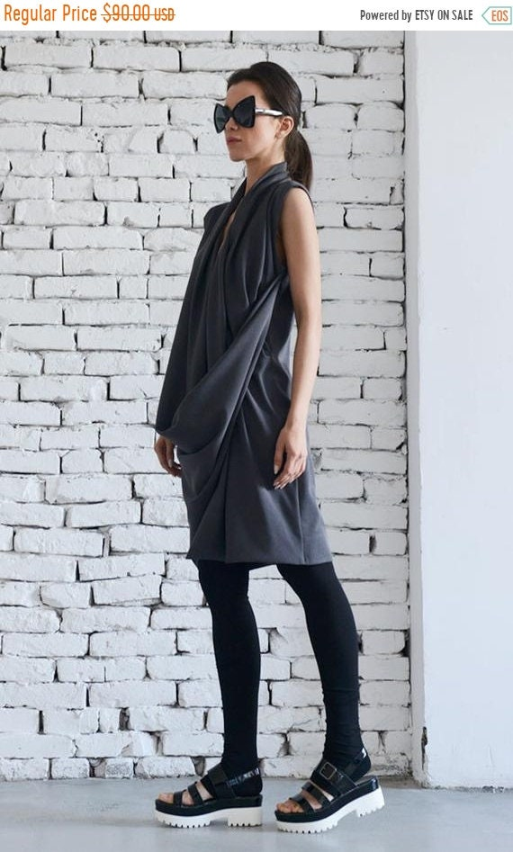 20% OFF Dark Grey Dress / Asymmetric Dress/  Short Grey Tunic / Long Dark Grey Top / Extravagant grey dress