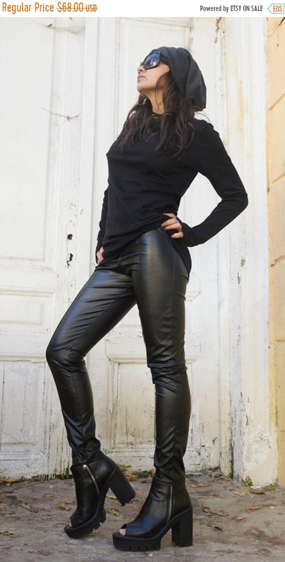 20% OFF Black Extra Long Leggings/Slim Fit Black Pants/Sexy Leather Pants/Black Leather Leggings/Tight Leather Pants/Black Leather Pants MET