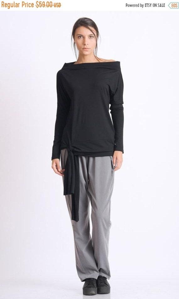 65845797eea SALE Black Boat Neck Top/Casual Tunic Top/Long Sleeve Blouse/Handmade Black  Tunic/Loose Long Top/Black Maxi Tunic/Casual Long Sleeve Shirt
