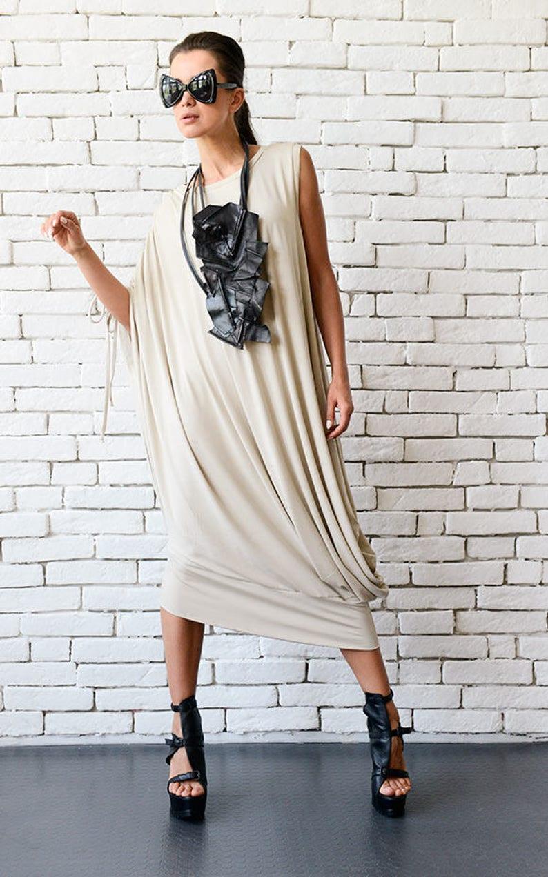 Plus Size Maxi Dress / Maxi Dress Boho / Beige Summer Dress / image 0