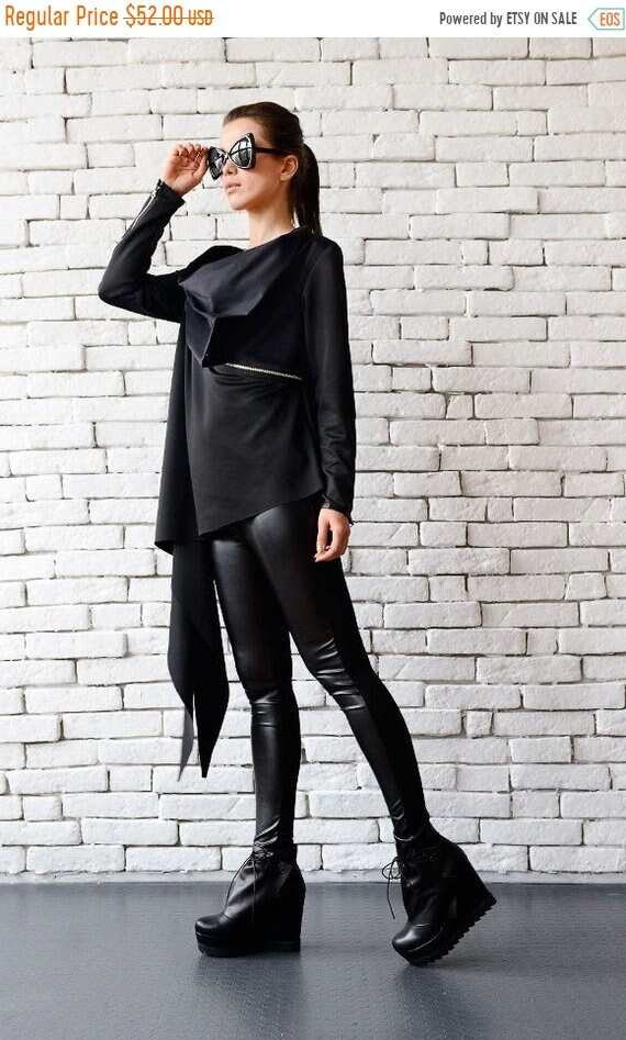 20% OFF Black Asymmetric Top with Zippers / Long Sleeve Top / Asymmetric Black Shirt / Oversize Tunic with Zippers / Casual Black Blazer