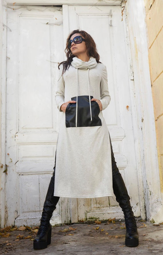 Grey Maxi Dress with Slits / Long Turtle Neck Loose Tunic /Black Leather Pocket Dress / Oversize Grey Top / Sexy Stage Dress by METAMORPHOZA