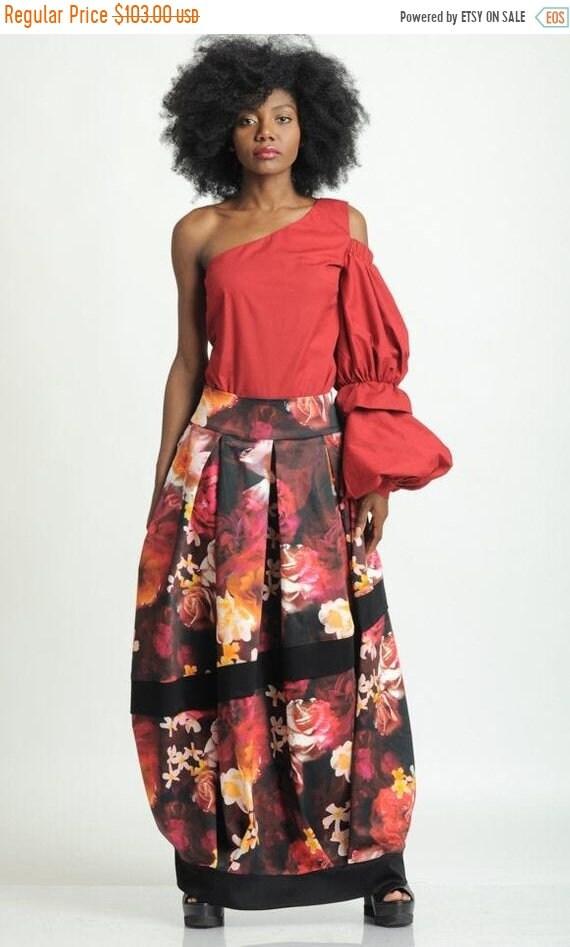 35% OFF Flower Pattern Long Skirt/Extravagant Multi Color Maxi Skirt/Long Loose Skirt/Colorful Pleated Skirt/Floral Pocket Skirt