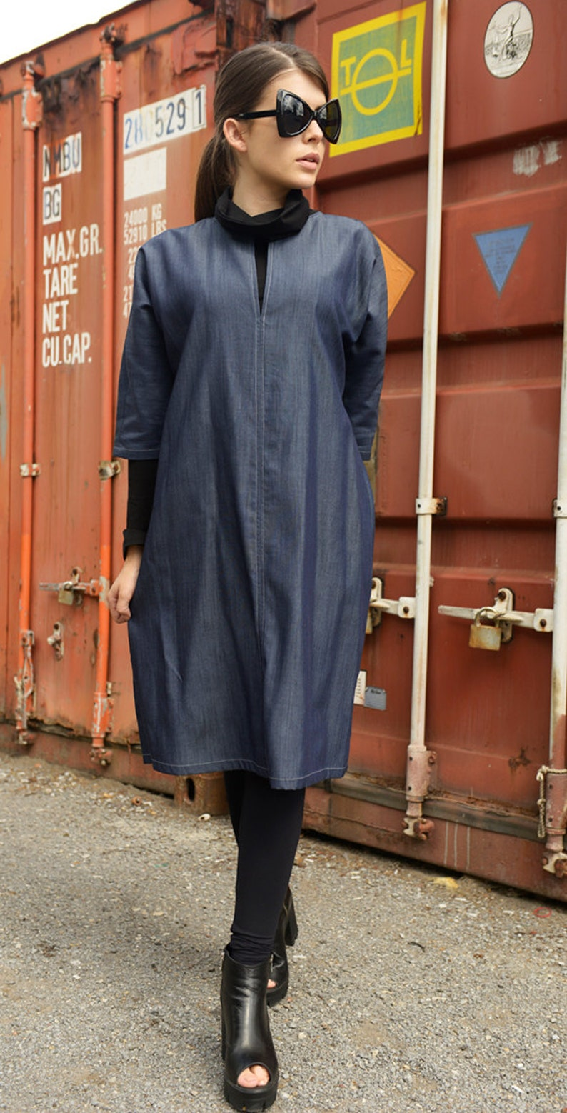 aab78f0039b Long Loose Denim Dress   Denim Casual Tunic   Maxi Blue Dress