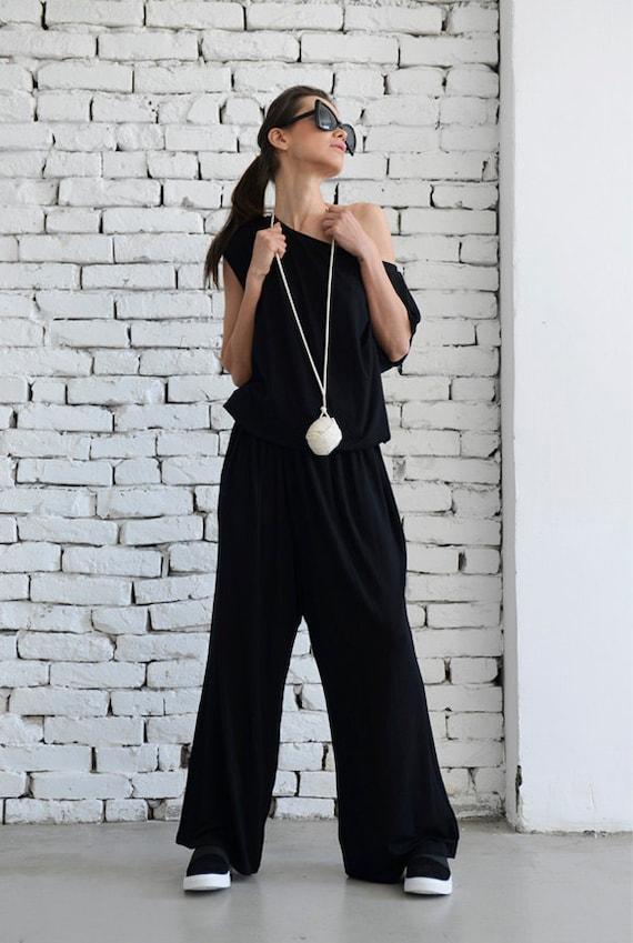 Black Loose Jumpsuit/Long Leg Jumpsuit /Women Black Summer Jumpsuit/Long Spring Black Pants Suit/Oversize Black Jumpsuit METJ0003