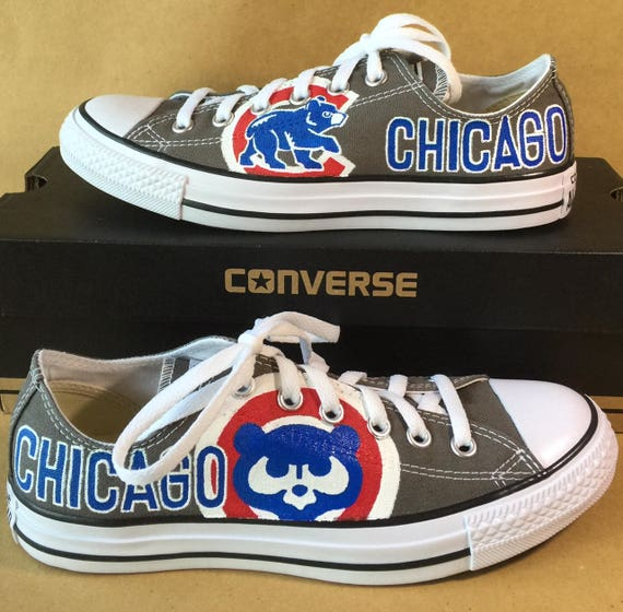 Gray Chicago Cubs Low Top Converse