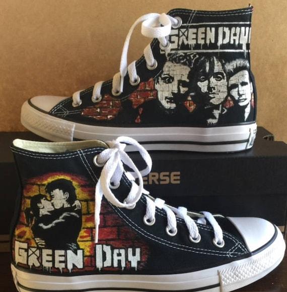 Custom Hand-painted Green Day 21st Century Breakdown Hi-Top  7709328a9