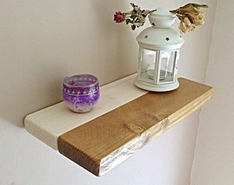 Floating Shelves, Wooden Shelving, Wall Shelf - Oak, Cream, Pine Split Shelf ** FREE UK DELIVERY **