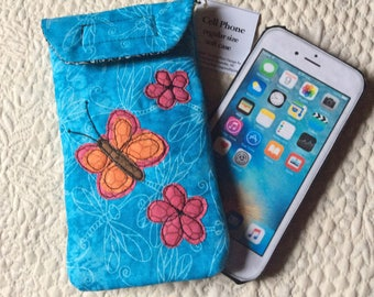 Medium Size Phone case, Quilted case, iphone, Smart phone case, Gadget case, phone pouch, iPhone bag,eyeglass, cell phone case 6#35