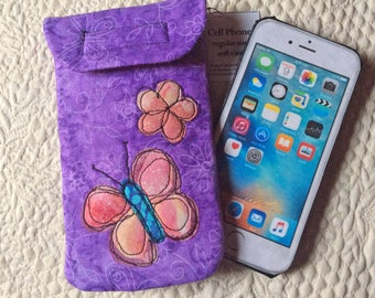 Medium Size Phone case, Quilted case, iphone, Smart phone case, Gadget case, phone pouch, iPhone bag,eyeglass, cell phone case 6#36
