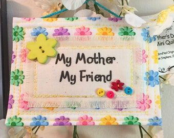 Quilted Mother's Day card. Quilted gift tag, card plus envelope, Mother's Day Card, Quilted Gift Tag, Fabric ornament, Quilted Card #7