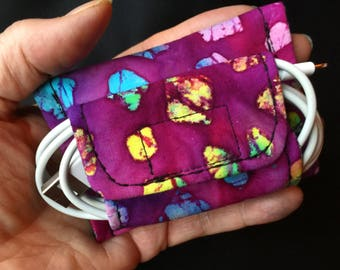 Ear bud case & cord organizer, gadget cord case, Cord keeper, computer cable case, earbud organizer, electronics case, fitbit cord case #1