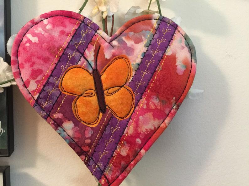 Butterfly heart mug mat Butterfly decor Quilted mat Angel kisses #68 Batik Butterfly mat heart mug rug Heart /& Butterfly mug mat