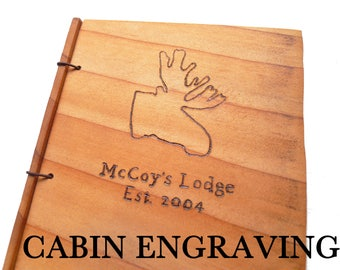Cabin Guestbook Wooden Rustic Engraved Journal Customize Your Wood Guest Book Personalized Brand Your Journal Lodge Guestbook Getaway