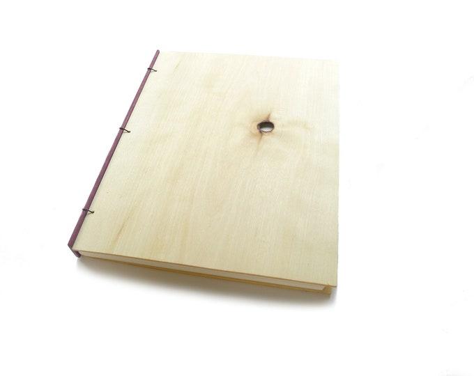 Featured listing image: 8x10 Aspen Wooden Notebook Wood Journal Sketchbook Rustic Wood Wedding Guest Book Personalized Journal Refillable Journal Custom Journal