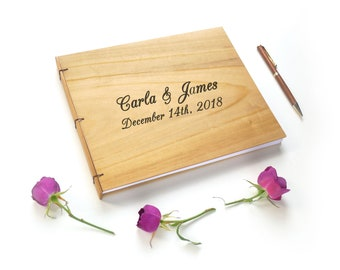 Poplar Wooden Wedding Guest Book Rustic Wedding Guestbook Custom Guestbook Engraved Guest Book Engraved Guestbook Wood Guest Book