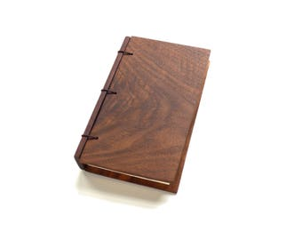 Walnut Wooden Notebook, Gift for Writer, Wood Journal, Engraved Notebook, Wooden Sketchbook, Custom Journal, Travel Notebook- 3x5