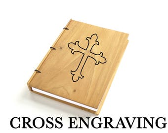 Cross on Journal Baptism Journal Gift Christian Journal Cross Engraved on Wood Celtic Cross on Notebook Guestbook First Communion Gift