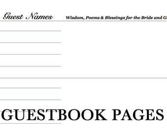 Wooden Wedding Guestbook Pages Template Custom Unique Guestbook Rustic Wedding Guestbook Unique Guest Book Rustic Wedding Guest Book Rustic