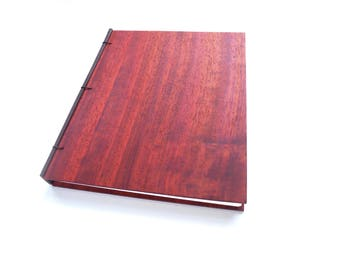 8x10 Padauk Wooden Notebook Wood Journal Sketchbook Rustic Wood Wedding Guest Book Personalized Journal Refillable Journal Custom Journal