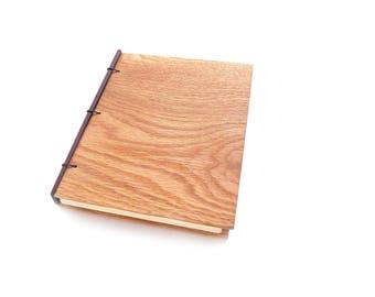 5x7 Oak Journal Wooden Notebook Wooden Wedding Guestbook Wood Journal Engraved Notebook Wooden Sketchbook Custom Journal Travel Notebook