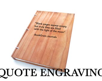 Custom Quote Message or Text on Journal Quote Engraving Personalized Journal Quote on Guestbook Quote on Notebook Quote on Sketchbook