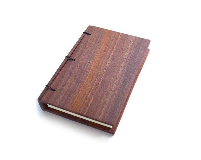 Featured listing image: Walnut Wooden Notebook Wood Journal Sketchbook Rustic Wood Wedding Guest Book Personalized Journal Refillable Journal Custom Journal