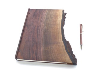 Live Edge Walnut Journal Wooden Notebook Wood Journal Engraved Notebook Gift for Writer Wooden Sketchbook Custom Journal Travel Notebook