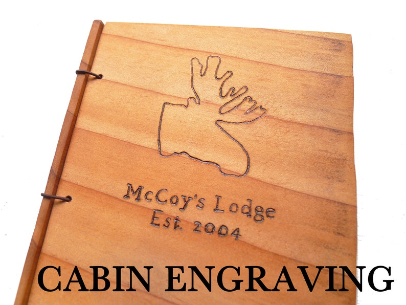Cabin Guestbook Wooden Rustic Engraved Journal Customize Your image 0