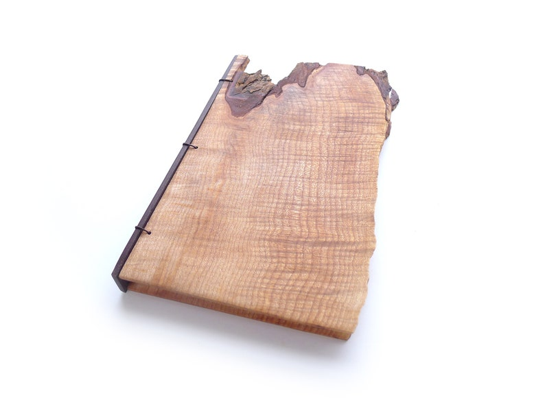 6x9 Live Edge Maple Journal Wooden Notebook Wood Guestbook image 0