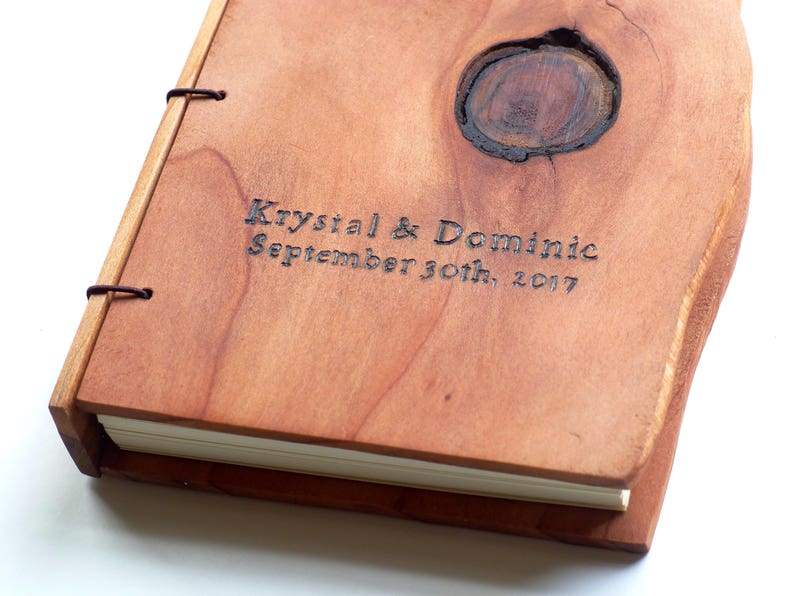 Wooden Wedding Guestbook Engraving Unique Guestbook Rustic image 0