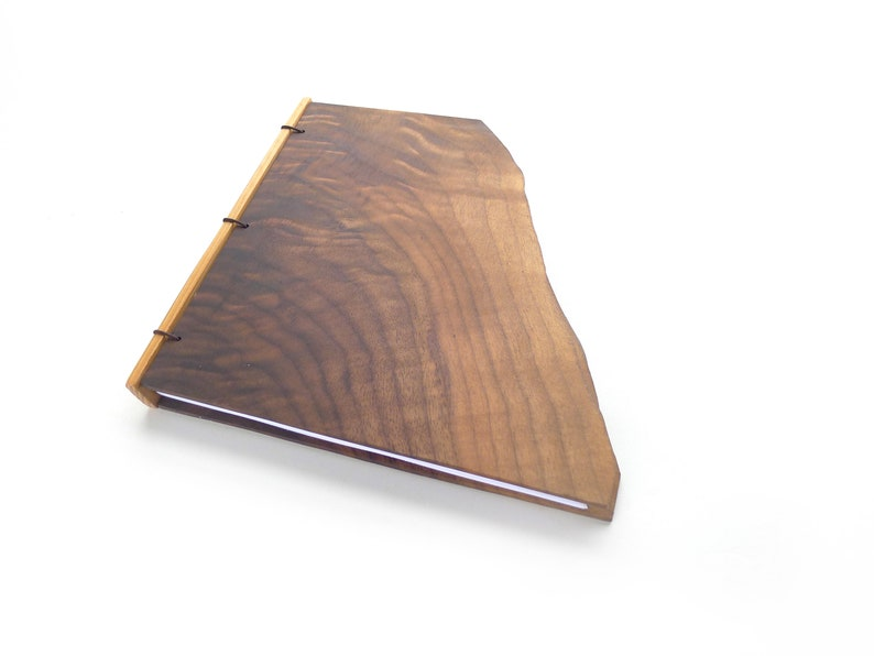 Live Edge Walnut Journal Wooden Notebook Wood Guestbook image 0