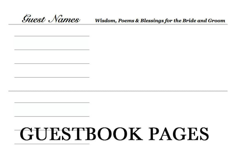 Wooden Wedding Guestbook Pages Template Custom Unique image 0