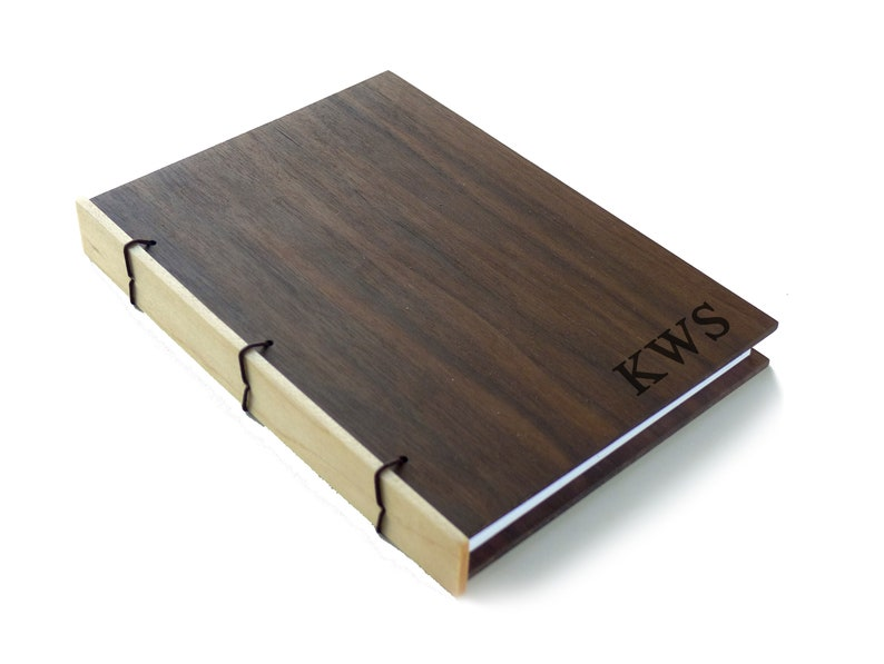 Two Tone Walnut Wood Journal Personalized Journal Wooden image 0