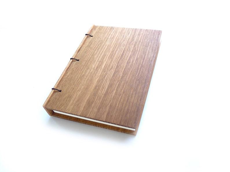 Oak Journal Wooden Notebook Wooden Wedding Guestbook Wood image 0