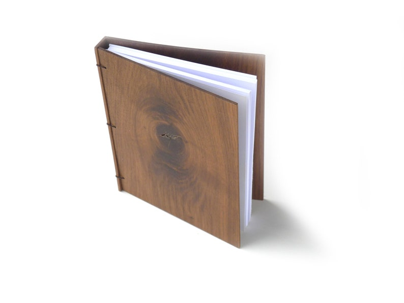 6x8 Walnut Journal Wooden Notebook Wood Guestbook Gratitude image 0