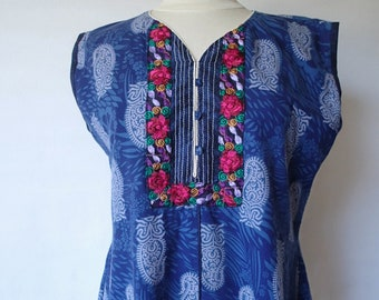 70s vintage Indian cotton tunic shirt; embroidered embellished blue abstract paisley print ethnic kurta blouse top