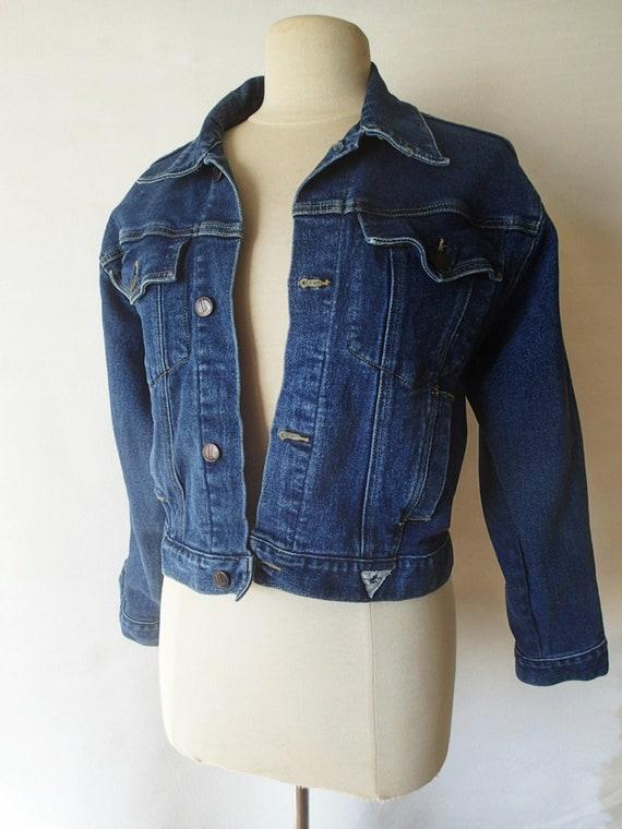 Womens Vintage Jeansjacke abgeschnitten, Oversize 80er Jahre Jeansjacke, blaue Jeansjacke, Trucker, Grunge, Miller 80er Jahre Jeans