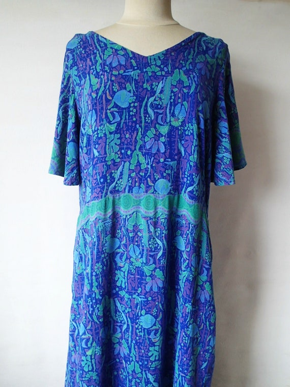 Vintage plus size maxi dress, Blue floral print caftan coverup, Boho ankle  length casual summer dress, beach coverup festival sundress