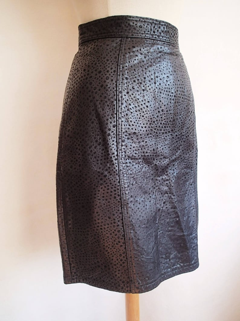 3e1dcc93e510 Vintage miniskirt leather skirt black leather high waisted | Etsy