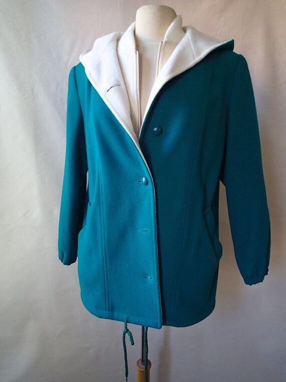 Wool duffel coat, hooded wool coat, lined vintage