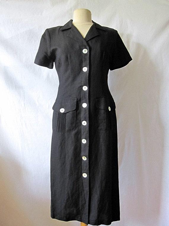 Black linen vintage dress, midi length shirt dress