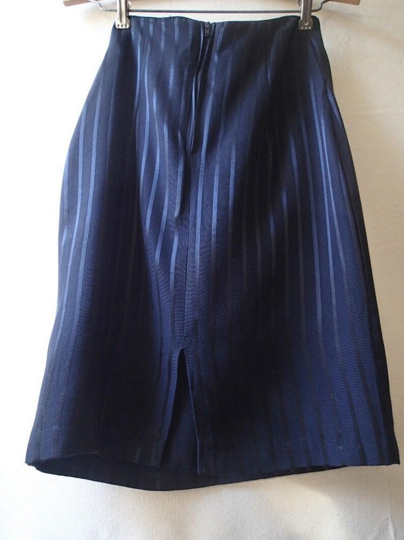 Vintage wiggle skirt black pinstriped skirt black on black fitted high waisted striped skirt pencil skirt knee length skirt