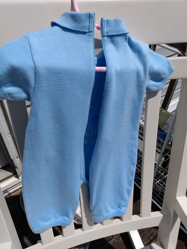 Friedknit Creations Vintage 3 Months Sweater Romper Baby BOy Blue