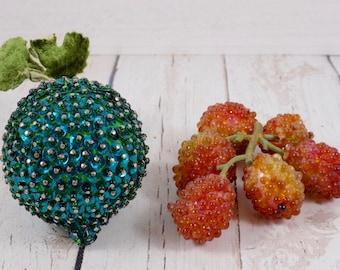 Sequins Beaded Berries,vintage,Beaded,hand made,vintage,Retro,Kitsch,Kitchen Decor,Centerpiece,Mid Century,Decorative Craft