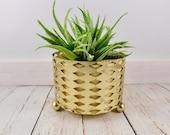 Gold and Yellow Mid Century Planter,geometric,planter pot,vintage planter,plastic,metal stand,succulent pot