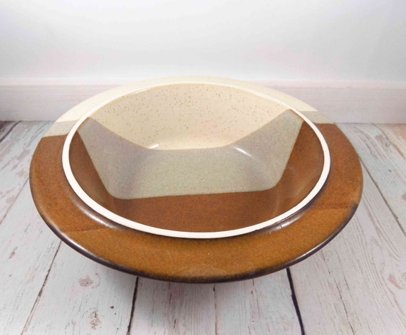 Stoneware Decorative Bowl Ceramic Bowl 40 Layer Bowl Brown Etsy Delectable Cream Decorative Bowl