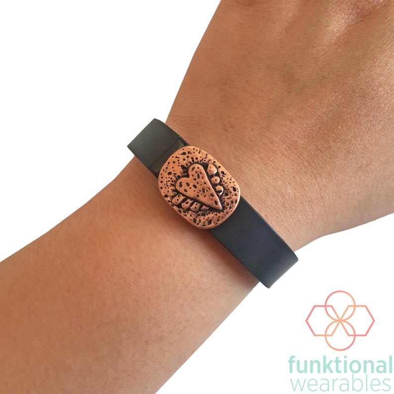 Charm to Accessorize Fitbit or Other Activity Trackers The WINGED HEART Engraved Copper Charm to Dress Up Your Favorite Fitness Tracker